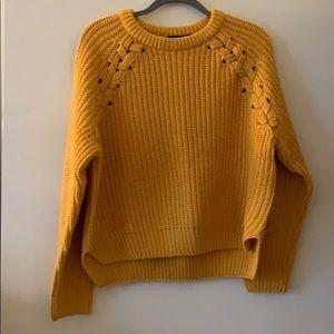 Yellow Bulky Knit boohoo Sweater w/ braid detail